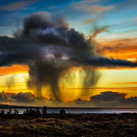 Dancing rain cloud. by Hallgrimur Helgason - Landscapes Cloud Formations ( clouds, rain shower, iceland, sky, strong )