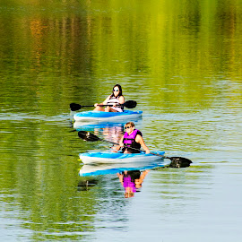 Kayakers on smooth water by Scott Thomas - Sports & Fitness Other Sports ( nature, water, people, boat, landscape )