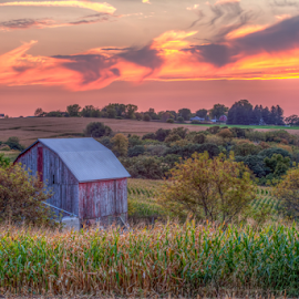 Midwest Serenity by Tom Weisbrook - Landscapes Prairies, Meadows & Fields ( clouds, wisconsin, rolling hills, peaceful, barn, calming, serenity, sunset, midwest, farmland, landscape, weathered )