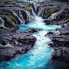 Bruarfoss by Marc Sharp - Landscapes Waterscapes ( water, iceland, nature, colorful, waterfall, bruarfoss, dramatic, landscape, river )