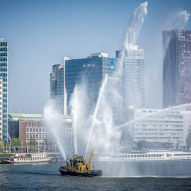 Rotterdam by Kees van Es - Transportation Boats ( building, rotterdam, bridge, boat, river )