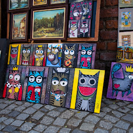 Street Art by Darrell Portz - City,  Street & Park  Street Scenes ( europe, old town square market, old town, warsaw, poland )
