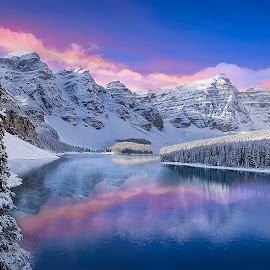by Shannon Rogers - Landscapes Mountains & Hills ( water, hdr, canada, purple, beautiful, winterscape, reflections, beauty, hues, landscape, moraine lake, amazing, winter, cold, snow, pink, shhannon rogers, shhannon rogers photography )