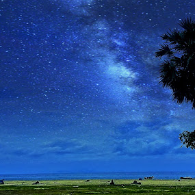milky way by Brothers Photography - Digital Art Places ( night blue, sky, blue, stars, night, beach, night sky, night shot, milky way,  )