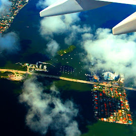FLYING OVER MIAMI FLORIDA by Gerry Slabaugh - Landscapes Travel ( miami, sailboats, flying, bridge, aerial )