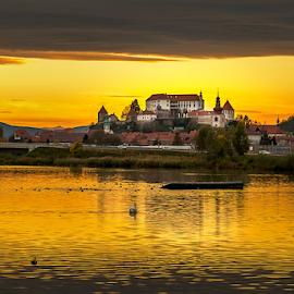 Yellow by Aleksandra Jereb - City,  Street & Park  Skylines ( water, sunset, slovenia, castle, yellow, cityscape, ptuj, river, city )