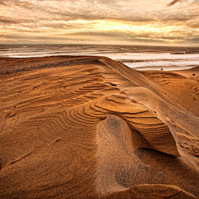 Dunes and sunrise by Cristobal Garciaferro Rubio - Landscapes Deserts ( shore, clouds, sand, dunes, rise, sea, sunrise, sun )
