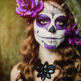 Halloween Bride  by Ina Pandora - People Portraits of Women ( halloweenbride, purple, blue, female, makeup, fine art, portrait, halloween )