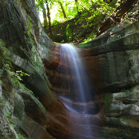 French Canyon Falls by Gerard Pascazio - Landscapes Waterscapes ( close up.october, starved rock s.p., illinois, waterfall,  )