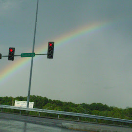 rainbow by the traffic signal by Nivea Dhanasekara - Landscapes Cloud Formations