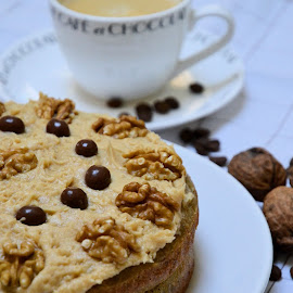 Home-made coffee and walnut cake by Heather Aplin - Food & Drink Cooking & Baking ( cake, chocolate, sponge, coffee, walnut, icing, home-made )
