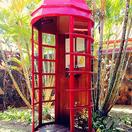 Red phone booth by Hayley Moortele - City,  Street & Park  City Parks ( #redphobebooth, #telephone, #oldandnew )