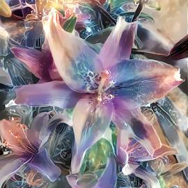 Lily pastel by Cassy 67 - Illustration Flowers & Nature ( digital, love, harmony, flowers, abstract art, abstract, deepdream, flower, digital art, pastel, classic, modern, trendy, light, lily )