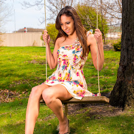 Maria on the swing. by Brian Sadowski - People Portraits of Women ( glamour, fashion, summer dress, girl, tree, nature, floral design, summer, beauty, flowers, women, portrait )