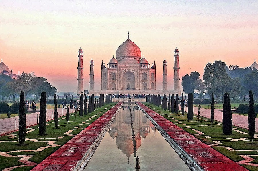 Sunrise Colors by Raymond Pauly - Travel Locations Landmarks ( famous landmarks, mausoleum, beautiful, taj mahal, agra, india, grave, monument, historical )