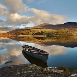 The Jersey by Nik Hall - Landscapes Waterscapes ( mountains, reflection, reflections, boats, lakes, clouds, lake, killarney, boat, ireland )