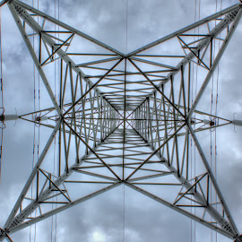Powered Symmetry V2.0 by Damien Brearley - Abstract Patterns ( abstract, pylon, heights, electricity, symmetry )