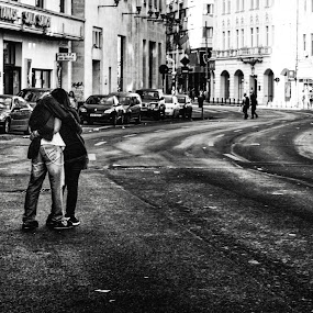 Love is everywhere  by Alex Cruceru - People Street & Candids ( love, urban, monochrome, street, empty, couple, curves, city )