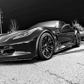 Red Vette by Jeffrey Lorber - Transportation Automobiles ( corvette, chevrolet, lorberphoto, automobile, lorber, black & whit, jeffrey lorber )