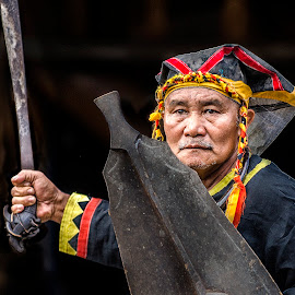Nias Warrior by Indrawaty Arifin - People Portraits of Men ( warrior, blade, old man, traditional, man,  )