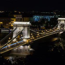 by Mario Horvat - City,  Street & Park  Night ( lights, lanchid, budapest, night, bridge, danube )