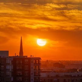 Orange Orb by Vinod Kalathil - Digital Art Places ( orange, skyline, sunset, chicago, cityscape )