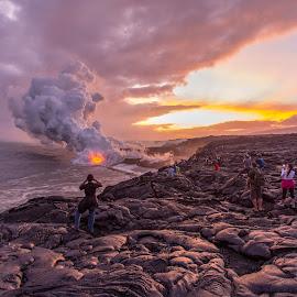 Kalapana View Point, Big Island by Vamsi Sata - Landscapes Beaches ( kalapana, molten lava, sunset, hawaii, big island )