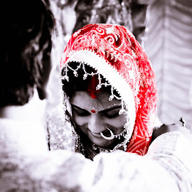 We love with a love that is more than love by Abhishek Banerjee - Wedding Bride & Groom ( black and white, wedding, indian wedding, bride, groom, portrait )