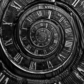 Like Clockwork by Michael  Kitchen - Digital Art Things ( abstract, droste, b&w, clock, gray scale )