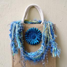 Blue On Blue by Elizabeth Donovan-Jenkins - Artistic Objects Clothing & Accessories ( accessory, blue, cornflower, handmade, scarf,  )