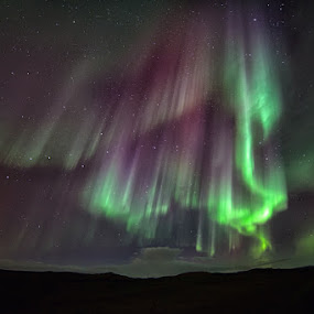 Aurora borealis in Iceland by Tim Vollmer - Landscapes Starscapes ( mountains, magic, iceland, sky, stars, aurora borealis, street, light )