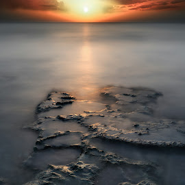 Timing is everything. by David Khundiashvili - Landscapes Beaches ( abstract, worm, sunset, sea, seascape, photography, sun )