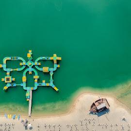 Beach by Péter Mocsonoky - City,  Street & Park  Vistas ( sand, green, relax, cool, beach, ship, water, lake, fun )