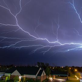 Balcony view by Matt Hollamon - City,  Street & Park  Night ( lightning, thunderstorm, night, nikon, nightscape, balcony view )