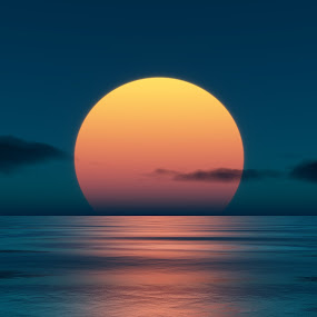 Sunset by Markus Gann - Illustration Flowers & Nature ( water, orange, warm, horizon, sea, ocean, yellow, sun, red, nature, blue, sunset, wave, cloud,  )
