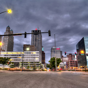 Downtown Kansas City Missouri by David Shayani - City,  Street & Park  Street Scenes ( clouds, olympus e300, intersection, reflection, hdr, stop light, street, midwest, amc, overcast, road, high dynamic range, usa, united states of america, city scape, lights, street sign, four thirds, north america, 14-45mm, buildings, picasa photo editor, light pole )