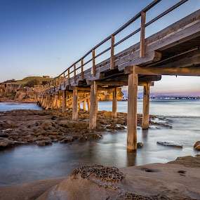 La Perouse at Sunset by Mandy Harvey - Buildings & Architecture Bridges & Suspended Structures ( la perouse, wooden, sunset, sea, bridge, landscape, photography, sydney, coast, island )