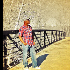 by Ricco Adams - People Portraits of Men ( posing on bridge )