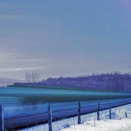 Long Train Moving by Shauna M. Jackson - Transportation Trains ( winter, snow, train, long exposure, tracks, motion,  )