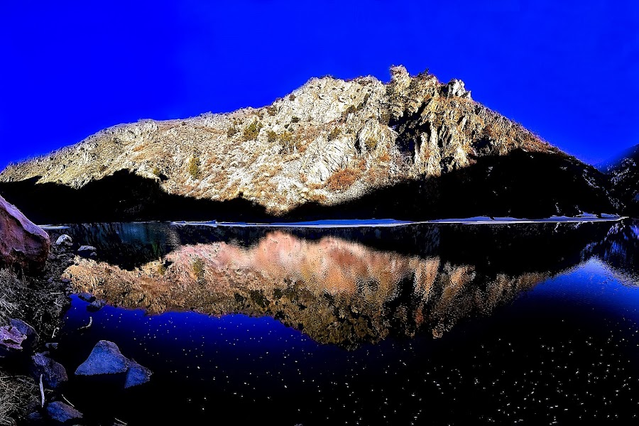 First Light by Bruce Newman - Landscapes Mountains & Hills ( rock formations, waterscape, vivid colors, reflections, landscape,  )