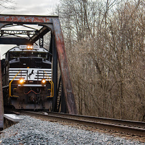NS 1020 by Greg Booher - Transportation Trains ( 1020, sd70ace, norfolk southern, railroad, trestle, train )