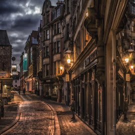 High Bridge by Adam Lang - City,  Street & Park  Street Scenes ( cobbles, high bridge, street, night, newcastle )