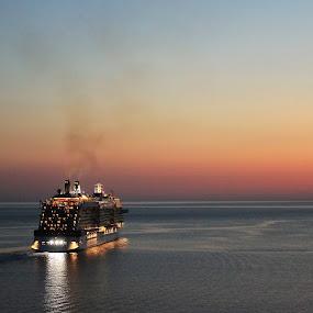 Good bye  by Mirjana  Bocina - Landscapes Sunsets & Sunrises ( water, dubrovnik, sea, travel, , Free, Freedom, Inspire, Inspiring, Inspirational, Emotion, device, transportation, golden hour, sunset, sunrise )