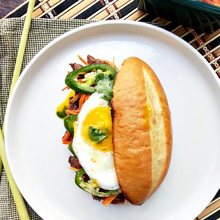 Lemongrass Steak Banh Mi With Fried Egg Recipe | Yummly