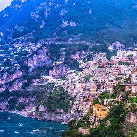 Positano on Amalfi Coast by Arif Sarıyıldız - City,  Street & Park  Vistas ( naple, positano, amalfi coast, cityscape, landscape, italy )