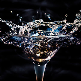 back by Dietmar Kuhn - Abstract Water Drops & Splashes ( water, lighting, alcohol, martini, shutter, glass, moody )