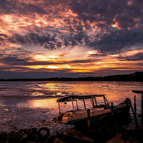Sunset at Sungai Mekabong by Kenny Lee - Landscapes Waterscapes