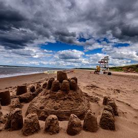Sand Castle by Vernie Gillespie - Landscapes Beaches ( clouds, sand, castle, seascape, beach )
