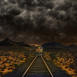 Train escapes the Storm by Alex  Wolf - Transportation Trains ( clouds, sand, alex wolf, desert, wolfproduction.us, dark, train, night, tracks, storm, cactus )