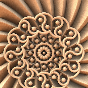 Yin-Yang Harmony by Lyle Hatch - Illustration Abstract & Patterns ( kaleidoscope, wood, fins, computer-generated, 3-d fractal, three dimensional, mandala, wooden, serenity, 3-d, zen, harmony, yin-yang, fractal, wood grain )